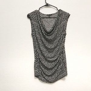 Chaus Black and White Geometric Tank Top, Ruched